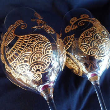 Wine Glasses hand painted with henna style paisley  flower designs on crystal glassware. Custom order of  a kind. Bride & groom,bridesmaid