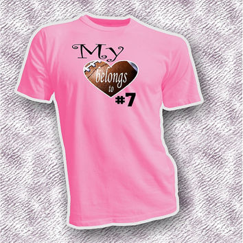 My heart belongs to football player unisex adult shirt, heart shaped football tee, custom add on with your sons number shirt, football mom