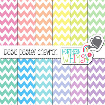 Pastel Chevron Digital Paper – pastel scrapbook paper in pink, peach, yellow, mint, blue, & purple - printable paper - commercial use