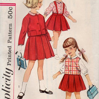 1960s Girls School Uniform Simplicity Sewing Pattern Pleated Skirt Vest Jacket Collared Blouse Playsuit Casual Day Dress Size 5