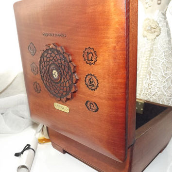 CROWN Chakra - LOCKABLE Box. Handmade wooden Box with Crown Chakra pendant. Box can be PERSONALISED by you with an additional Brass Plaque.
