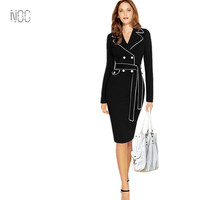 2016 Women winter autumn formal office causal solid brief pencil bodycon tunic big large plus size long sleeve dress DS0071