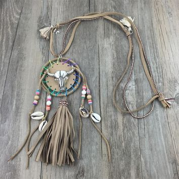 Unique boho leather tassel pendent