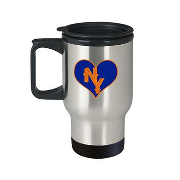 New York Baseball Colors Heart Love Travel Mug