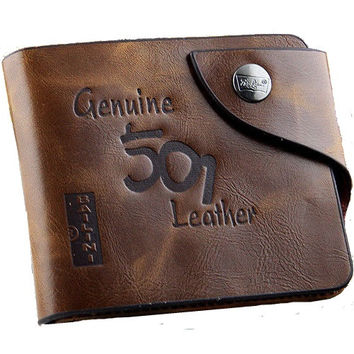 Men's Genuine Leather Bifold Wallet Credit/ID Card Holder