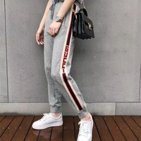 """Gucci"" Women Casual Fashion Multicolor Stripe Sequin Cat Head Embroidery Sweatpants Leisure Pants Trousers"