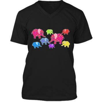 Colorful Baby Elephants T-Shirt for boys and girls Mens Printed V-Neck T