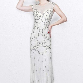 Primavera Couture - Exquisite Multi-Colored Leafy Patterned Long Dress 1812