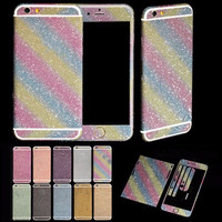 """Bling Glitter Shiny Vinyl Full Body Front & Back Sticker Wrap Decal Case Cover For iPhone 4S 5 5C 5S 6/6S 4.7"""" 6/6S Plus 5.5"""""""