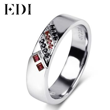EDI Romantic Lovers'  Ruby Gemstone 14k 585 White Gold Wedding Rings For Women Sapphire Mens Bands Engagement Fine Jewelry Gifts