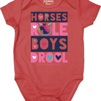 Farm Girl Infant Girls' Horses Rule Creeper