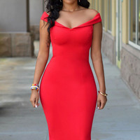 Red Off-Shoulder Bodycon Midi Dress