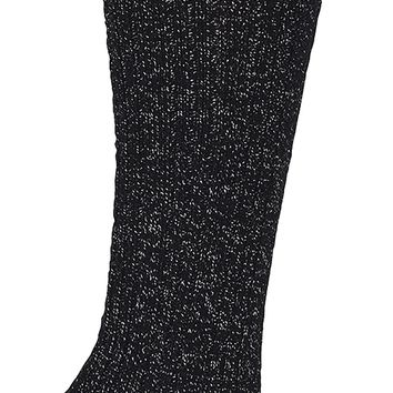 Soft Lurex Marl Knee High Socks-Silver