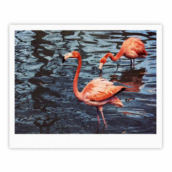 "Angie Turner ""Pink Flamingo "" Animals Blue Fine Art Gallery Print"