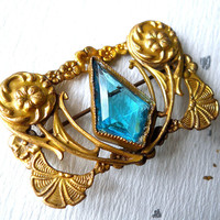 Aqua Glass Gilded Brass Brooch, Art Nouveau, C Clasp, Antique-Vintage