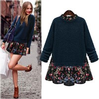 Autumn Fashion False Two Sets Sexy Sweater Top and Dress [22463086618]