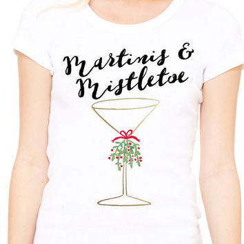 Martinis and Mistletoe Womens White Holiday Tee