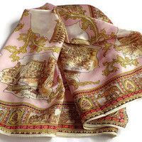 Vintage Roma Souvenir Scarf . Rome, Italy . Pink and Gold Square Scarf .