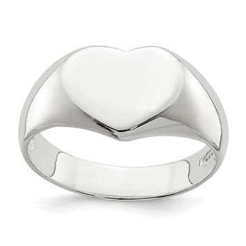 925 Sterling Silver Heart Signet Ring