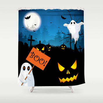 Boo Ghost Halloween Shower Curtain