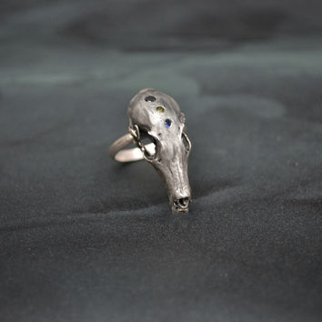 Hydra Maximus Dragon Skull Ring . With Precious Stones .