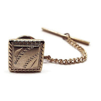 Vintage Tie Tack, Gold Tone Square, Cut Etched Design, Mid Century 1960s 60s, Mens Formal Tie Jewelry, Best Man Groom Gift