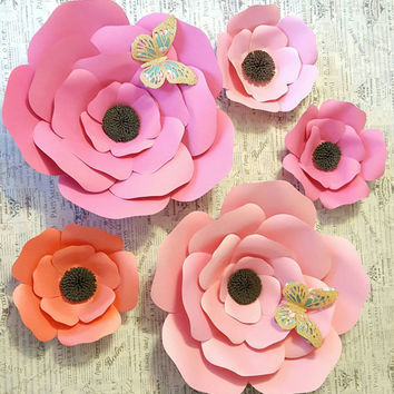 Pink and Peach Giant Paper Flowers Nursery Decor, Paper Flower Decor, Paper Flower Photo Backdrop, Pink Paper Flowers, Events Backdrop,