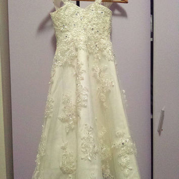 Floor Length Girls' Dress with Lace Appliques Beadings and Crystals Flower Girl Dress Party Dress