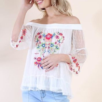 Floral Embroidered Polka Dot Sheer Off Shoulder Top