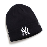 New York Yankees Raised Cuff Knit Beanie Navy