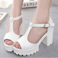 New Women Pumps Platform Strappy Buckle Stiletto High Heels Sandals Casual Shoes