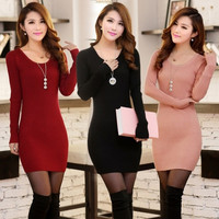 Fashion Long Sleeve Pullovers Solid Color O-neck Knit Sweater Bodycon Dress A_L = 1658549444