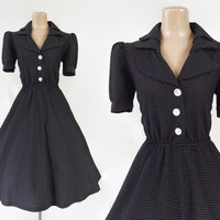 Vintage 80s does 50s Dress | 1980s Polka Dot Dress | I Love Lucy Dress | Circle Skirt Dress | Black White Shirtdress | 50s Style Swing Dress