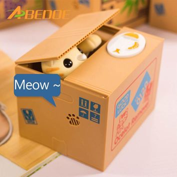 ABEDOE Automated Cat Steal Coin Bank 1PCS Piggy Bank Moneybox Saving Box Gifts digital coin jar For Child Christmas Halloween