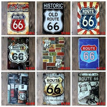 Vintage Tin signs Route 66 wall sticker home decor House Office Garage iron Paintings Metal Paintings