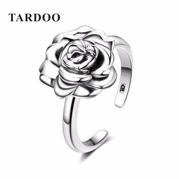 Tardoo Real 925 Sterling Silver Adjustable Open Rings for Women Romantic Rose Flower Bridal Wedding Band Rings Fine Jewelry