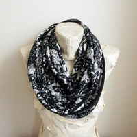 Lace Print Black White Infinity Scarf Jersey Women Accessories, Gifts Ideas