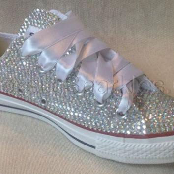 CREYUG7 Diamante Crystal Covered Converse Wedding Prom Shoes Trainers Custom Made