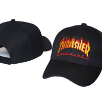 Hot Thrasher Flame Print Cotton Sport Baseball Cap Hat