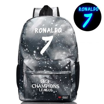 New Arrival Juventus Cristiano Ronaldo 7 Schoolbag For Teens Back to School Bookbags BackPack Noctilucous Luminous Bags H214