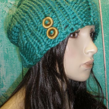Slouchy Beanie Hat Winter Hand Knit Caribbean Ocean Blue Woodsy With Wood Buttons