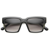 Oversize Square Bold Frame Horned Rim Sunglasses 9988