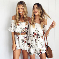 2017 Summer Floral Printed Off The Shoulder Romper Jumpsuit
