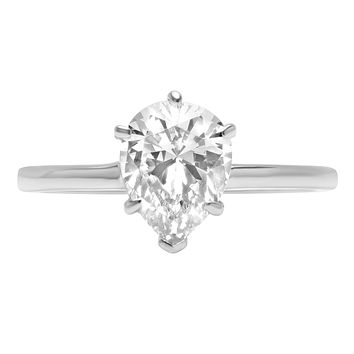 A Perfect 14K White Gold 1.2CT Pear Cut Russian Lab Diamond Solitaire Engagement Ring