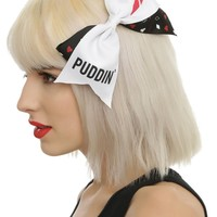 "Licensed cool Suicide Squad Harley Quinn PUDDIN Cosplay Cheer 7"" Hair Bow Pin Clip Dress-Up"