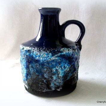 Marei, vase 4300, with lava glaze Capri decor. Vintage West German ceramics.