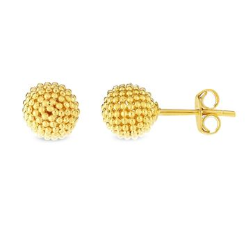 14k Yellow Gold Bead Ball Stud Earrings