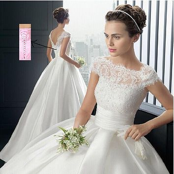 Cheap 2016 Hot Strapless white ivory Sweetheart Bridal Wedding Dress Formal Gown Free Shipping with sleeve lace Wedding Dresses