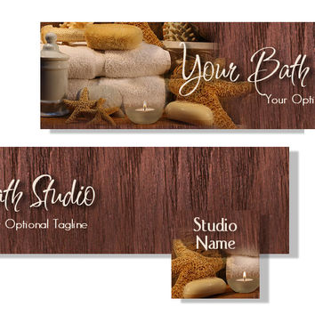 NEW** Bath and Spa Studio Banner and Avatar set - Brown- Towels - Candle - Starfish - Loofa - Handmade - Soap - Scent -