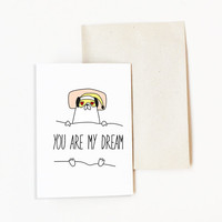 Love Cards - Hug me Card - Paper Party Supplies - Greeting Cards - Pug Dog Cards